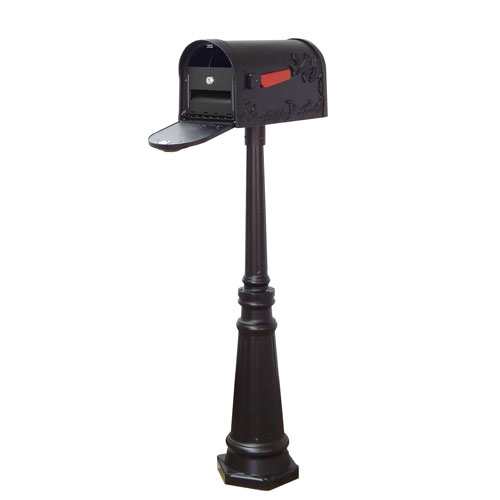 Hummingbird Curbside Mailbox with Locking Insert and Tacoma Mailbox Post in Black