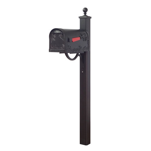 Special Lite Products Company Hummingbird Curbside Mailbox and Main Street Mailbox Post in Black
