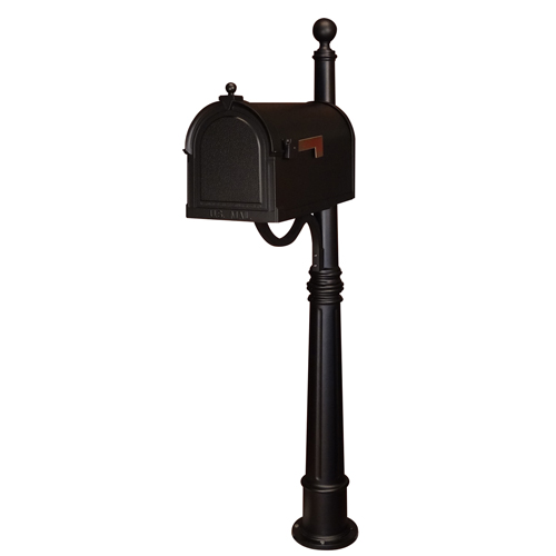 Berkshire Black Curbside Mailbox with Ashland Mailbox Post Unit
