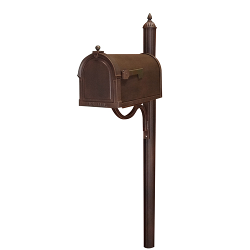 Special Lite Products Company Berkshire Copper Curbside Mailbox with Richland Mailbox Post Unit