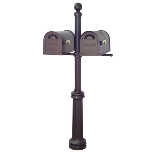Classic Curbside Mailboxes and Fresno Double Mount Mailbox Post in Black