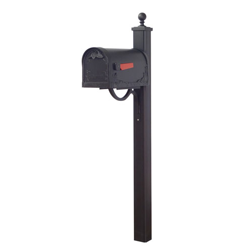 Special Lite Products Company Floral Curbside Mailbox and Main Street Mailbox Post in Black
