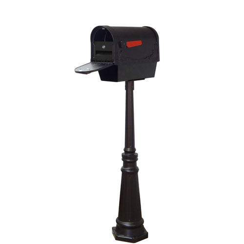Floral Curbside Mailbox with Newspaper Tube, Locking Insert and Tacoma Mailbox Post in Black