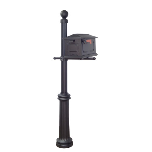 Special Lite Products Company Kingston Curbside Mailbox and Fresno Mailbox Post in Black