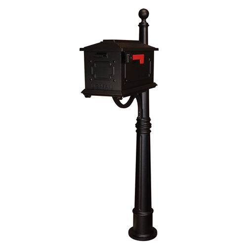 Kingston Black Curbside Mailbox with Ashland Mailbox Post Unit