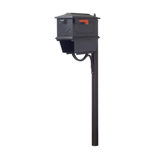 Kingston Curbside Mailbox with Newspaper Tube and Richland Mailbox Post in Black