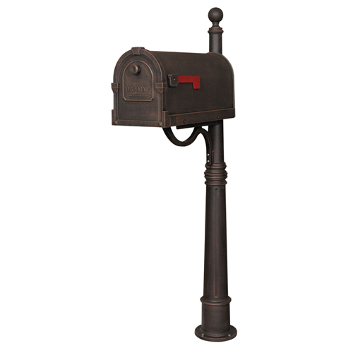 Savannah Copper Curbside Mailbox with Ashland Mailbox Post Unit