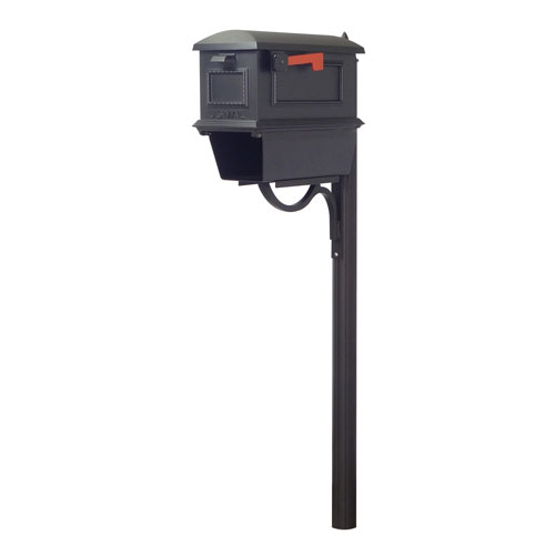 Traditional Curbside Mailbox with Newspaper Tube and Richland Mailbox Post in Black
