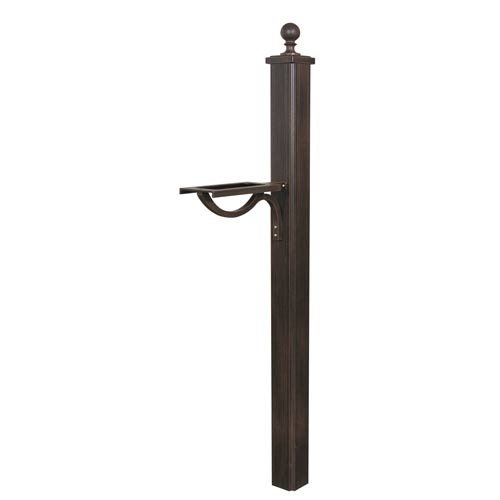 Special Lite Products Company Mocha Main Street Square Single Mailbox Post