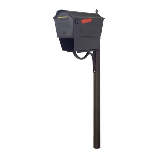 Special Lite Products Company Town Square Curbside Mailbox with Newspaper Tube and Richland Mailbox Post in Black