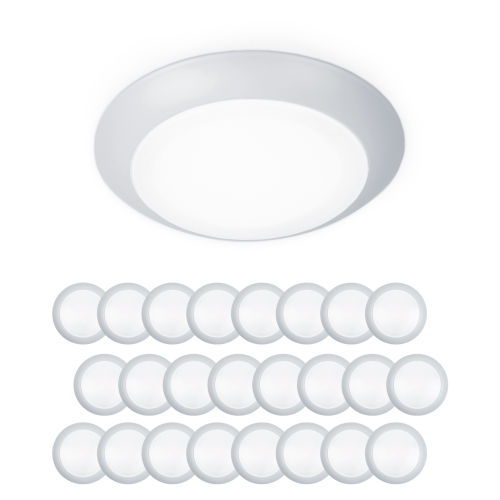 Disc White Six-Inch LED ADA Outdoor Flush Mount, Pack of 24