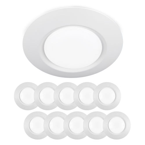 White Eight-Inch LED ADA Outdoor Flush Mount, Pack of 10