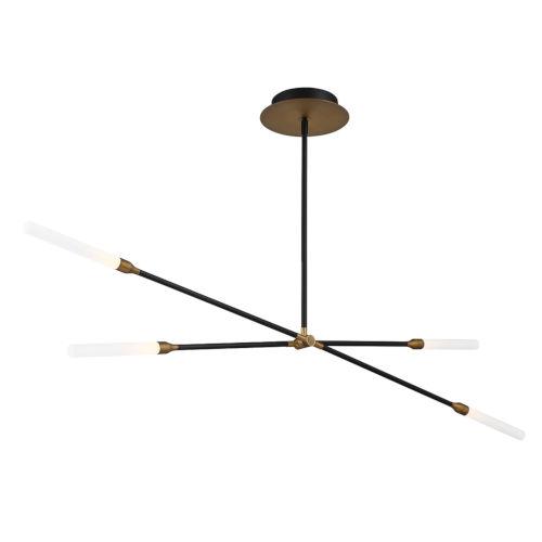 Houdini Black Aged Brass Four-Light LED Chandelier