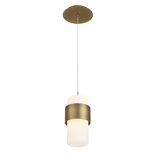 Banded Aged Brass Five-Inch LED Mini Pendant