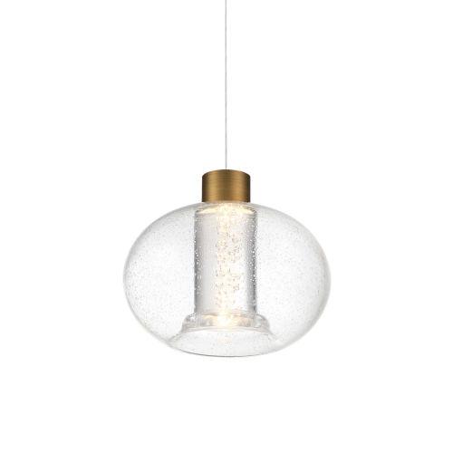 Crater Aged Brass LED Mini Pendant