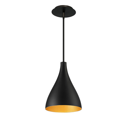 Copa Black Gold Ribbed 12-Inch LED Outdoor Pendant