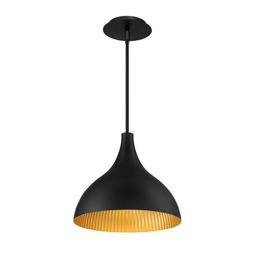 Copa Black Gold Ribbed 11-Inch LED Outdoor Pendant
