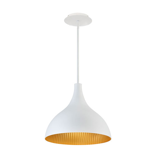 Copa White Gold Ribbed 11-Inch LED Outdoor Pendant