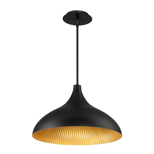 Copa Black Gold Ribbed 10-Inch LED Outdoor Pendant