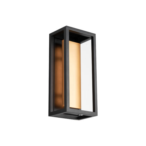 Hathaway Black and Aged Brass 12-Inch LED Outdoor Wall Light