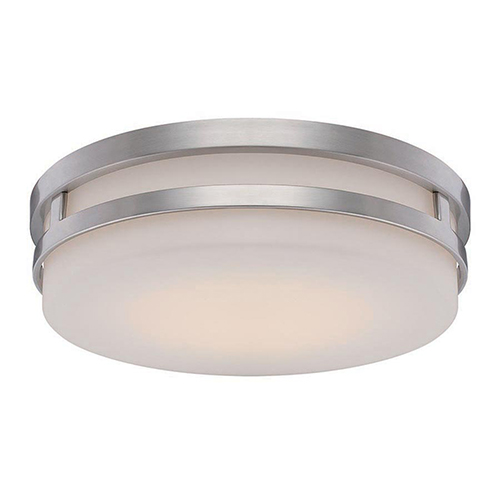 Vie Brushed Nickel LED Flush Mount with Blown Triplex Glass