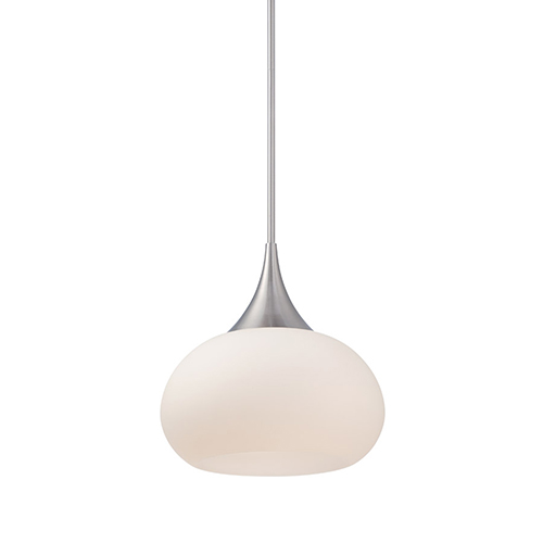 Kiss Brushed Nickel LED Pendant with Blown Triplex Glass