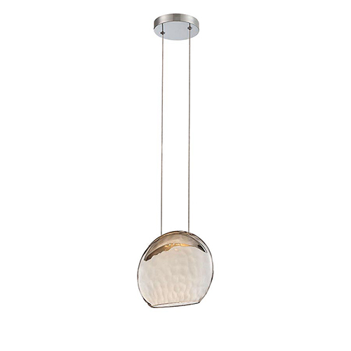 dweLED Lolli Chrome LED Pendant with Oval Bronze Glass with Hammered Optic
