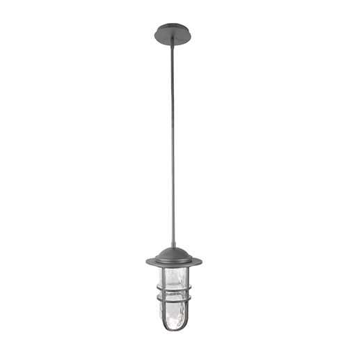 dweLED Steampunk Graphite LED Outdoor Pendant with Clear Hammered Seeded Blown Glass
