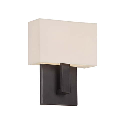 Manhattan Brushed Bronze 7-Inch LED Wall Sconce with Trimless Fabric Shade