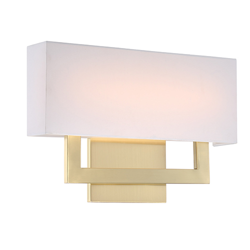 Manhattan Brushed Brass 15-Inch LED Wall Sconce with Trimless Fabric Shade