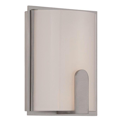 dweLED Stella Brushed Nickel 8-Inch LED Wall Sconce with Screen White Glass