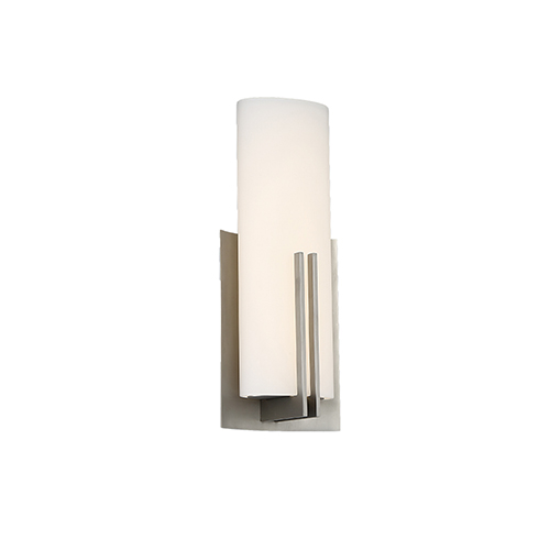 Moderne Satin Nickel LED Wall Sconce with Blown Etched Opal Glass