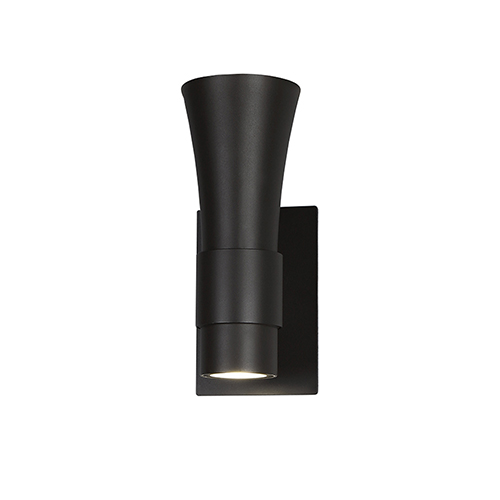 Funnel Bronze 12-Inch LED Outdoor Wall Light with White Glass Diffuser