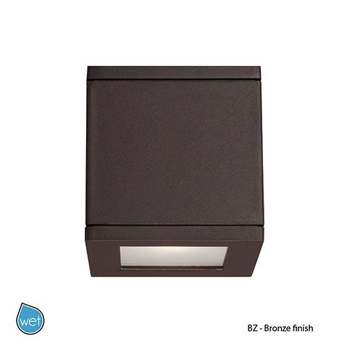 WAC Lighting LED Outdoor Bronze Rubix Outdoor Wall Sconce with Etched Glass