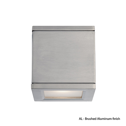 LED Outdoor Brushed Aluminum Rubix Outdoor Wall Sconce with Etched Glass