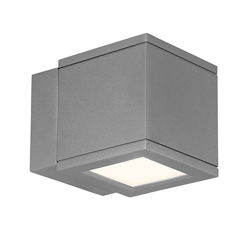 WAC Lighting LED Outdoor Graphite Rubix Outdoor Wall Sconce with Etched Glass