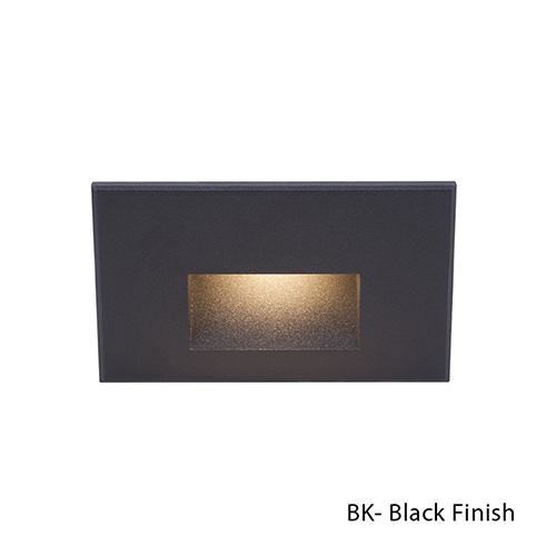 Black LED Rectangular Scoop Step Light