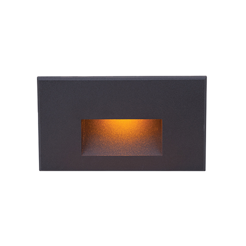 Black Rectangle Scoop Small LED Wall and Step Light with Amber Lens