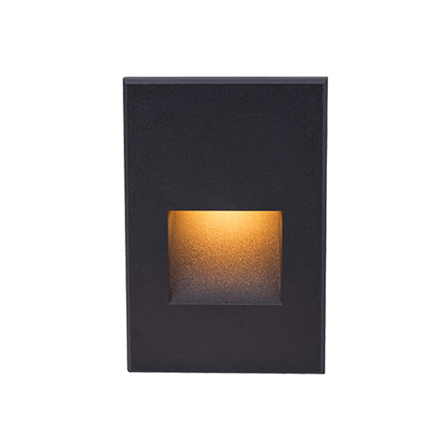 Black Rectangle Scoop Large LED Wall and Step Light with Amber Lens