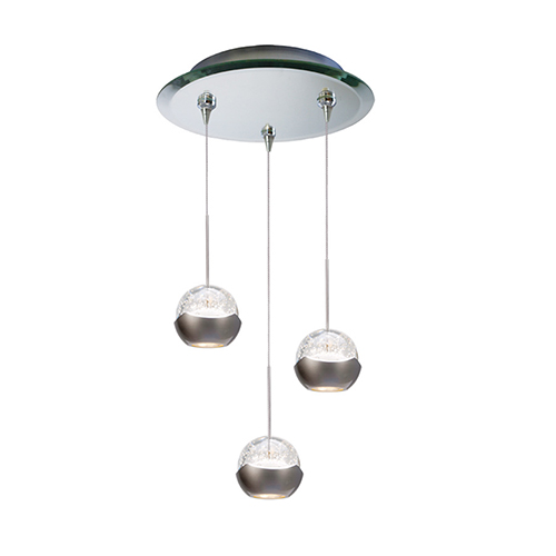 WAC Lighting Genesis Three Light 12-Inch LED Pendant with Mirrored Canopy