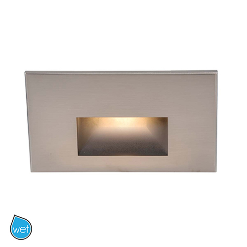 Brushed Nickel Rectangular Scoop LED Step Light