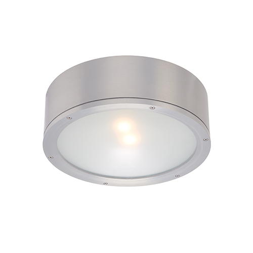 Tube Brushed Aluminum One-Light LED Outdoor Flush Mount