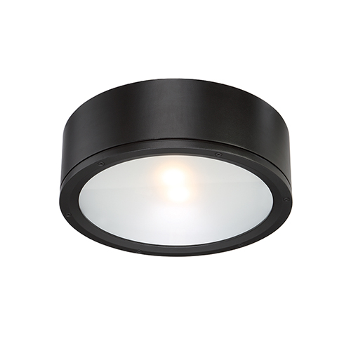 Tube Black One-Light LED Outdoor Flush Mount