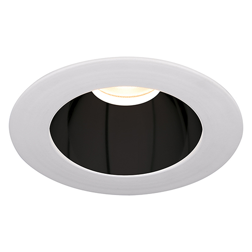 WAC Lighting Tesla Specular Black and White 3.5-Inch Pro LED Trim with 30 Degree Beam, 2700K