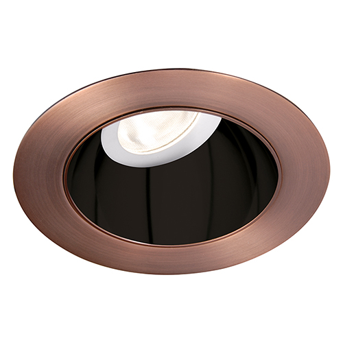 WAC Lighting Tesla Specular Black and Copper Bronze 3.5-Inch Pro LED 0-30 Degree Adjustable Trim with 55 Degree Beam, 4000K