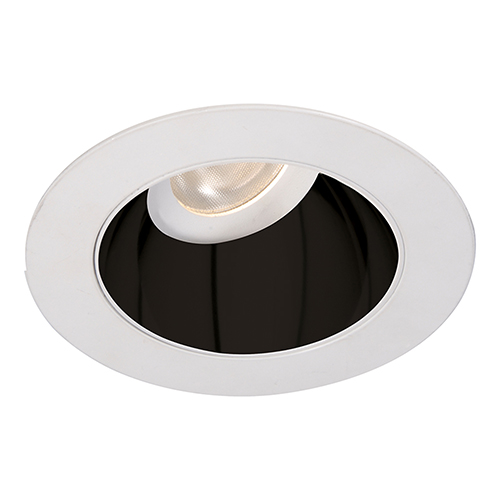 WAC Lighting Tesla Specular Black and White 3.5-Inch Pro LED 0-30 Degree Adjustable Trim with 30 Degree Beam, 4000K