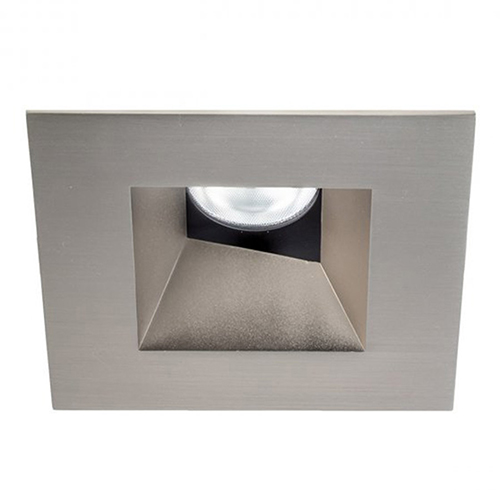 WAC Lighting Tesla Brushed Nickel 3.5-Inch Pro LED Square 0-30 Degree Adjustable Trim with 52 Degree Beam, 2700K, 90 CRI