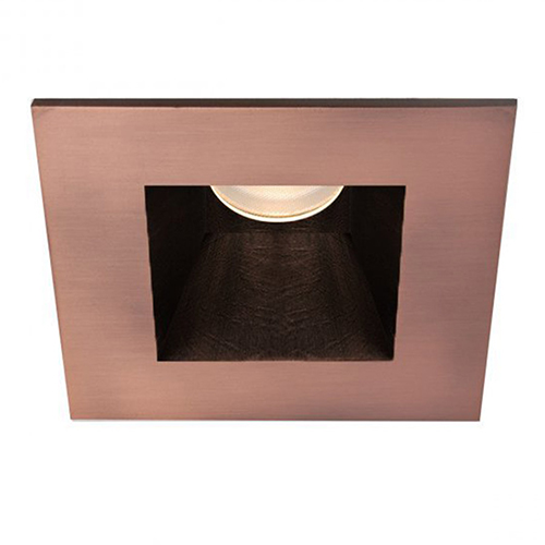 WAC Lighting Tesla Copper Bronze 3.5-Inch Pro LED Square Shower Light Trim with 30 Degree Beam, 3000K, 90 CRI