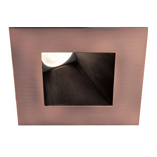 WAC Lighting Tesla Copper Bronze 3.5-Inch Pro LED Square 30-45 Degree Adjustable Trim with 26 Degree Beam, 4000K