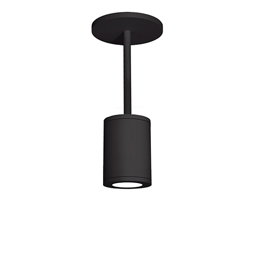 Tube Architectural  Black 5-Inch LED Pendant with White Glass Diffuser